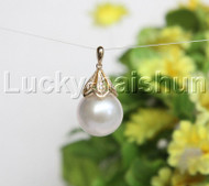 NEW AAA 15mm round white South Sea pearl necklace pendant 14K Solid gold j11933
