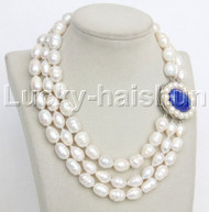 "natural 16"" 3row 16mm rice white pearls necklace lapis lazuli clasp j11954"