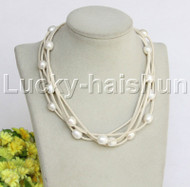 10X12mm 5strands white freshwater pearls white leather Necklace j12254