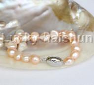 """12mm 8"""" natural pink Baroque freshwater pearls bracelet j12263"""