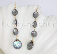 15mm 11mm black coin freshwater pearls dangle earrings 14k gold hook j12264