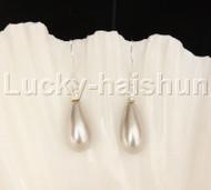 Dangle 8*15mm drip light gray sea shell pearls earring 18KGP Look j12388