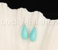 Dangle 8*15mm drip blue sea shell pearls earring 18KGP Look j12392