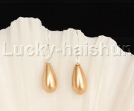 Dangle 8*15mm drip golden sea shell pearls earring 18KGP Look j12393
