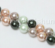 """18"""" 14mm round black blue purple pink south sea shell pearls necklace j12397"""