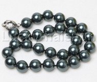 """18"""" 14mm round black south sea shell pearls necklace j12398"""