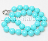 """18"""" 14mm round sky-blue south sea shell pearls necklace j12400"""