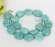 """AAA natural 19"""" 27X23mm Blue oval carved turquoise necklace j12479"""