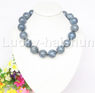 """AAA 100% NATURE GENUINE 20""""23MM ROUND BLUE CORAL NECKLACE j12581"""