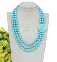 """17"""" 3row 8mm round turquoise bead necklace flower clasp j12637"""