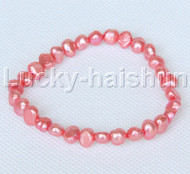 stretchy 8mm Baroque light red freshwater pearls bracelet j12654