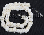 """AAA 16-18"""" 11mm flower carved white coral necklace 18KGP clasp j12681"""