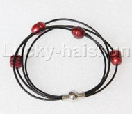 """Baroque 8"""" 4 Rows rice wine red freshwater pearls Black leather Bracelets magnet clasp j12875"""