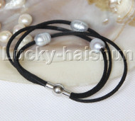 Baroque 3 Rows gray freshwater pearls black leather bracelet magnet clasp j12950