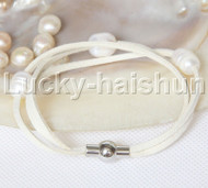 Baroque 3 Rows white freshwater pearls white leather bracelet magnet clasp j12951