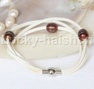 Baroque 3 Rows coffee freshwater pearls white leather bracelet magnet clasp j12955