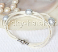 Baroque 3 Rows gray freshwater pearls white leather bracelet magnet clasp j12956