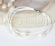 Baroque 4 Rows white freshwater pearls white leather bracelet magnet clasp j12959