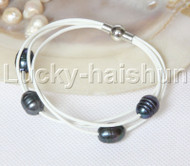 Baroque 4 Rows black freshwater pearls white leather bracelet magnet clasp j12960