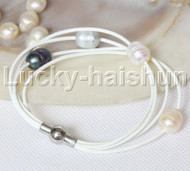 Baroque 4 Rows white gray black pink freshwater pearls white leather bracelet magnet clasp j12963