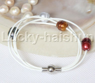 Baroque 4 Rows coffee gray black wine red freshwater pearls white leather bracelet magnet clasp j12964