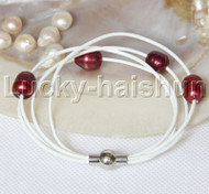 Baroque 4 Rows wine red freshwater pearls white leather bracelet magnet clasp j12965