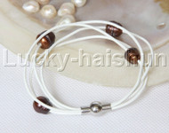 Baroque 4 Rows coffee freshwater pearls white leather bracelet magnet clasp j12966