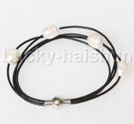 Baroque 4 Rows rice white freshwater pearls Black leather bracelet magnet clasp j12970