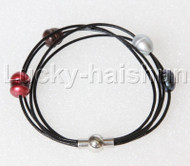 Baroque 4 Rows rice gray black coffee wine red pearls Black leather bracelet magnet clasp j12972