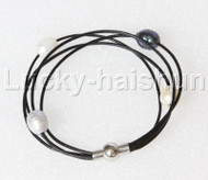 Baroque 4 Rows rice white Black gray pearls Black leather bracelet magnet clasp j12974