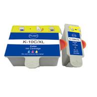 2-Pack (1 Black 1 Color) Ink Cartridges for Kodak No. 10