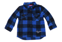 U.P. Blue Black Plaid Long Sleeve Button Down (Youth)