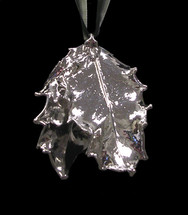Holly Leaf Ornament - Silver