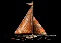 Copper Sailboat Wall Hanging