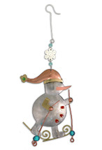 Skiing Snowman Ornament - P0009
