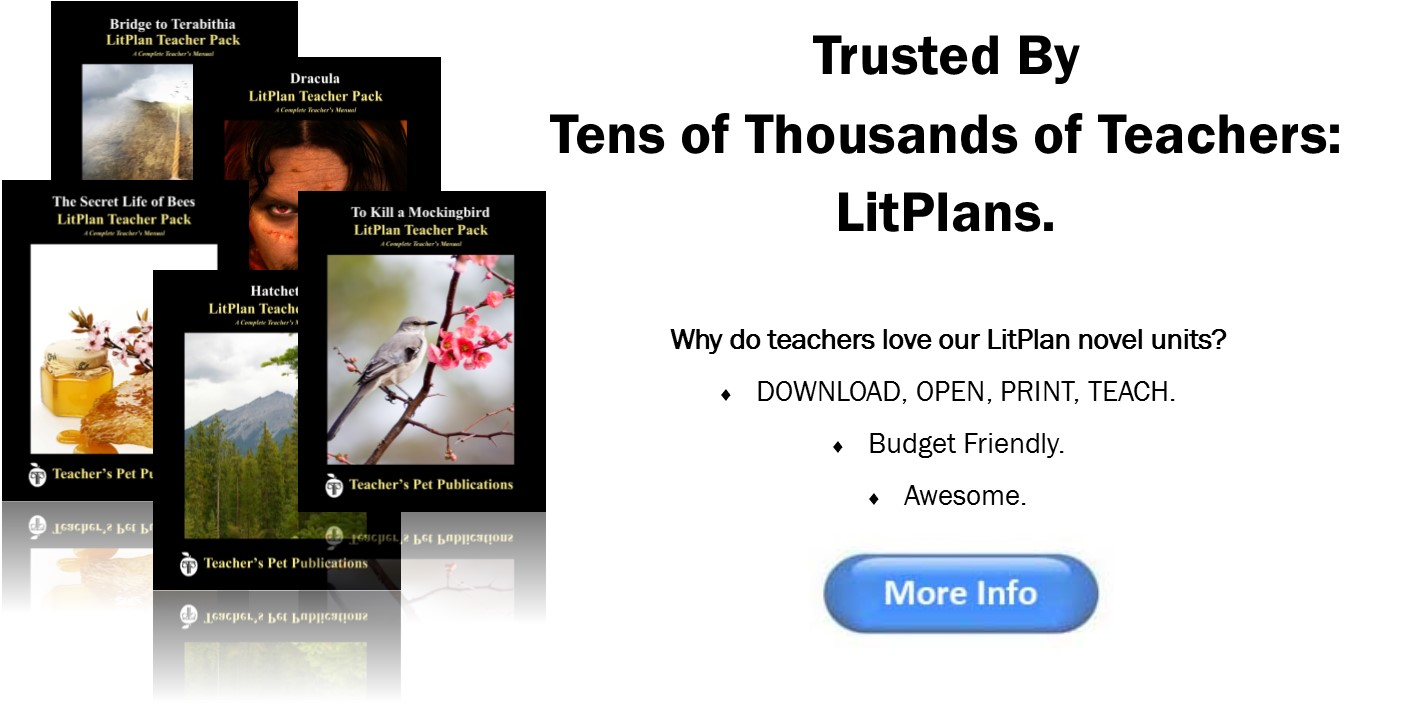 LitPlan literature lesson plans have been used by tens of thousands of teachers. Why? They're complete units of study ready to go. Just download, click, print, and teach. For only $16.95. Awesome!