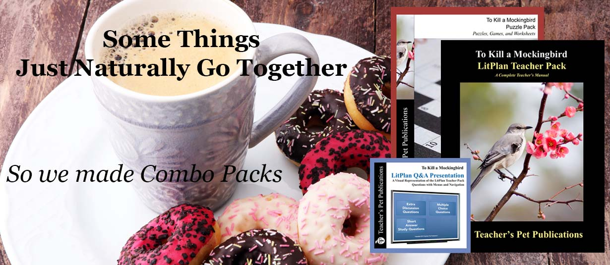 Combo Pack Novel Lesson Plans include complete lesson plans, puzzles, games, and review materials, tests, and a slide presentation for study and discussion questions, used for teaching novels and plays.
