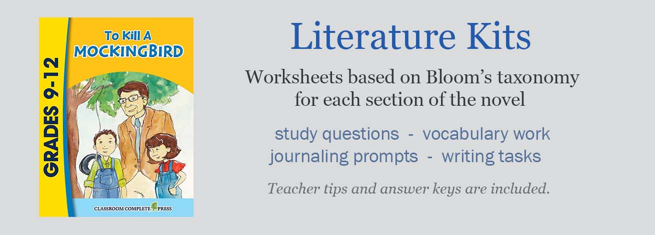 Literature Kits have worksheets and graphic organizers to give you lots of activities for your novel unit, to keep your students actively participating!