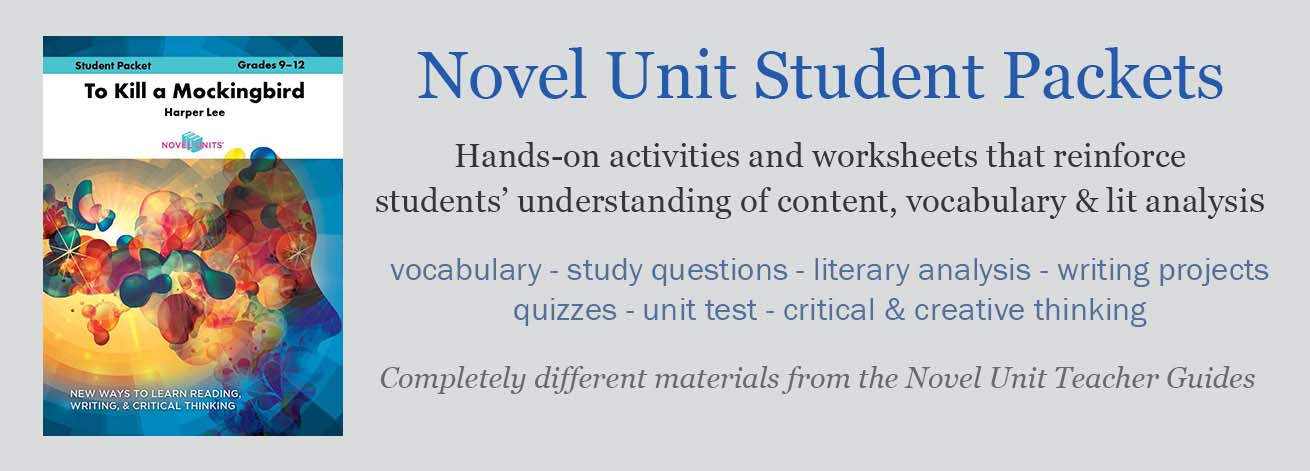 The Novel Units Student Study Guides have questions, worksheets, and activities to help students analyze specific novels and plays.