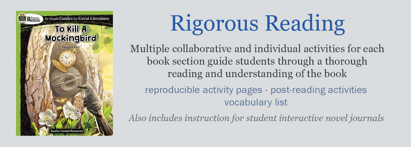 Rigorous Reading novel study teacher guides focus on improving students' critical reading skills through many activities and worksheets to go with your novel unit.
