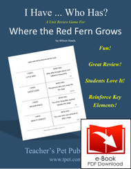 Where the Red Fern Grows I Have Who Has Novel Review Game