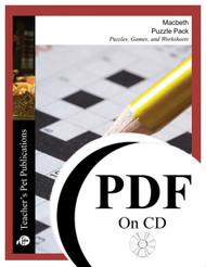Macbeth Puzzle Pack Worksheets, Activities, Games (PDF on CD)