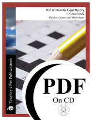 Roll of Thunder Hear My Cry Puzzle Pack Worksheets, Activities, Games (PDF on CD)