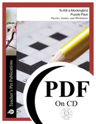 To Kill a Mockingbird Puzzle Pack Worksheets, Activities, Games (PDF on CD)