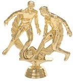 trophy with two male soccer players kicking a ball