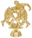 gold trophy piece with two wrestlers