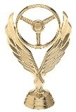 gold trophy steering wheel piece with wings