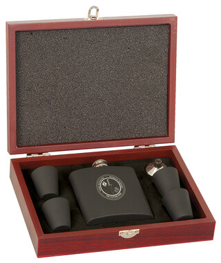 Matte Black Flask Set w/ Wood Presentation Box