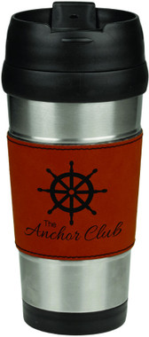 16OZ Leatherette Grip Travel Mug