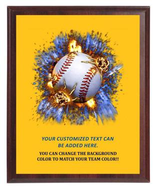 Baseball On Fire Plaque